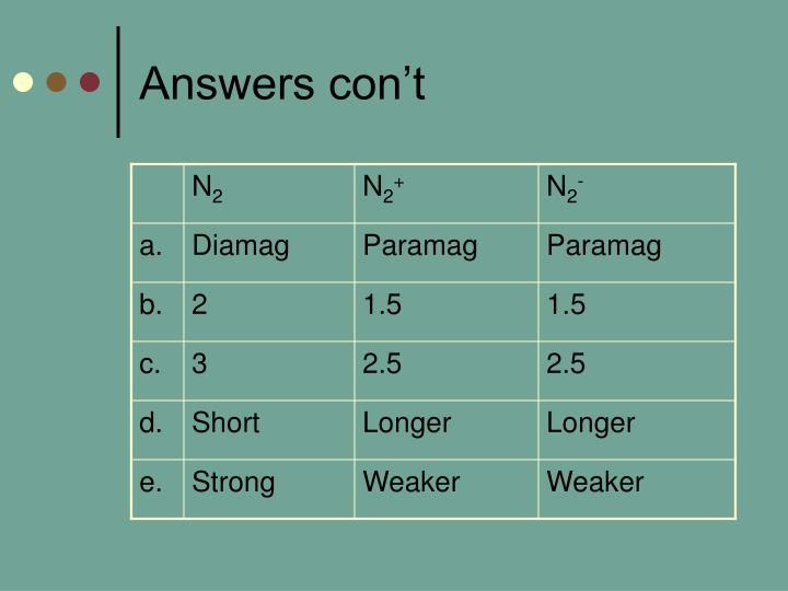 Answers con't