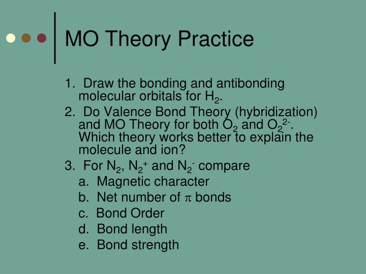 MO Theory Practice