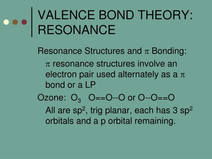 VALENCE BOND THEORY:  RESONANCE
