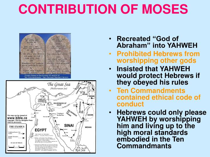 CONTRIBUTION OF MOSES