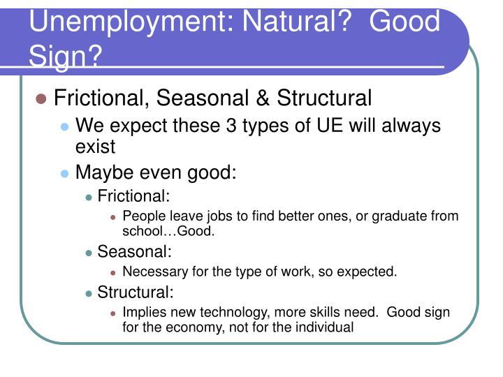 Unemployment: Natural?  Good Sign?