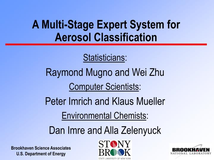 A multi stage expert system for aerosol classification