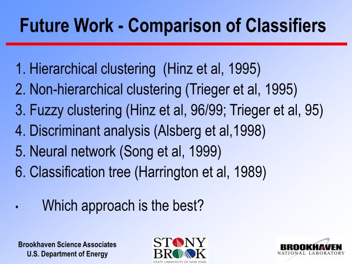 Future Work - Comparison of Classifiers