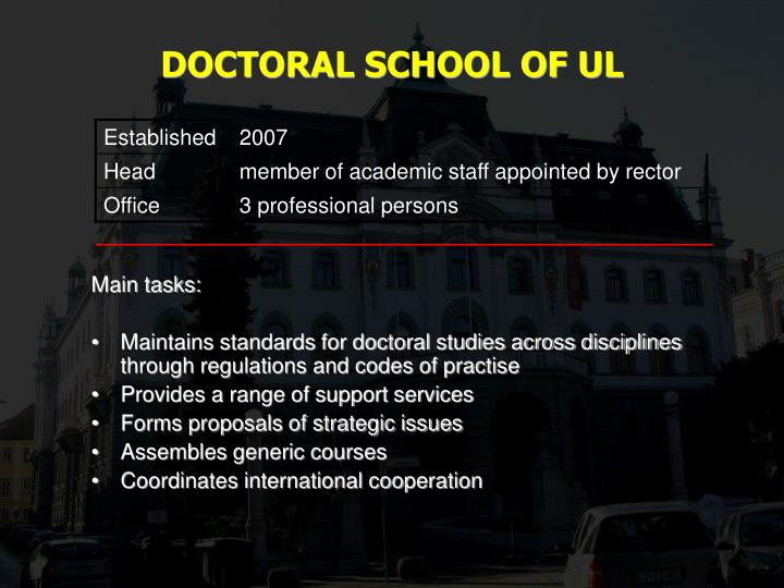DOCTORAL SCHOOL OF UL