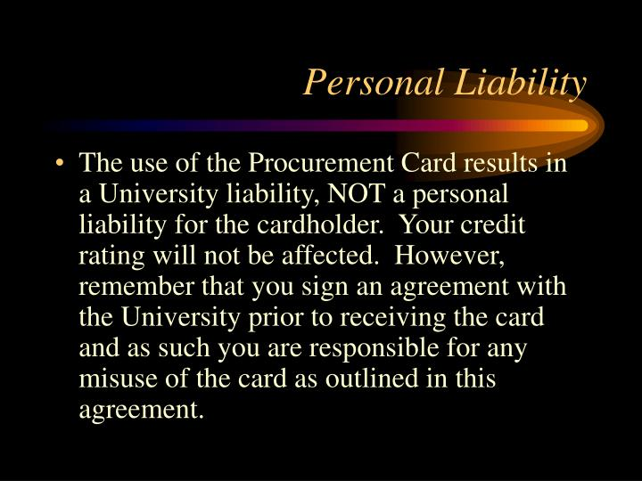Personal Liability