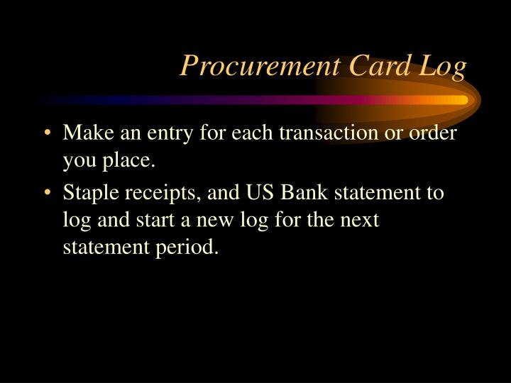 Procurement Card Log