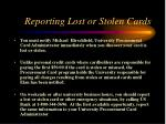 reporting lost or stolen cards