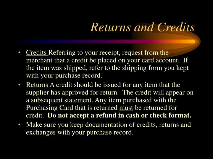 Returns and Credits