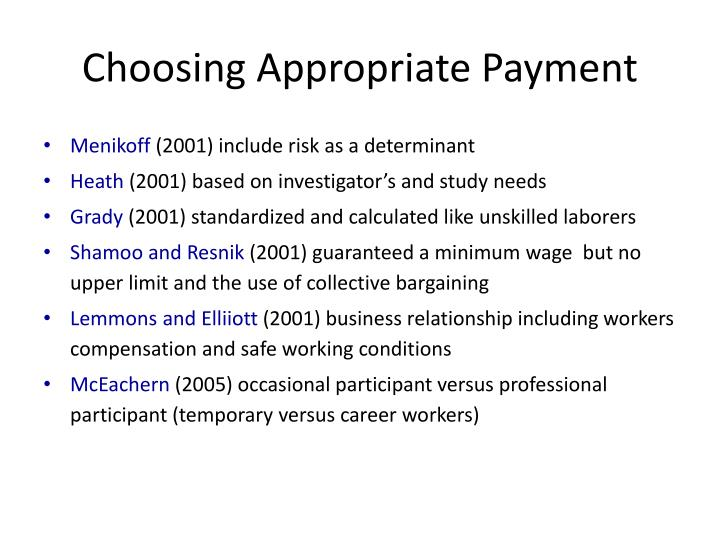 Choosing Appropriate Payment