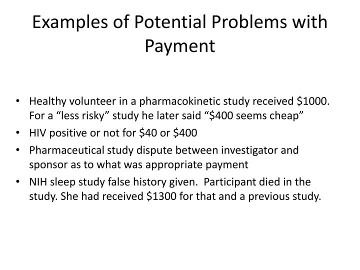 Examples of Potential Problems with Payment