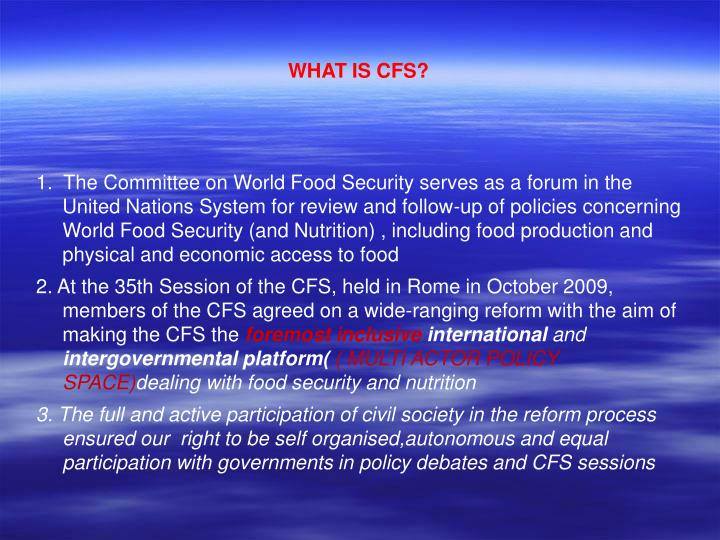 WHAT IS CFS?