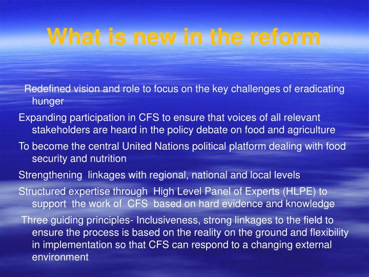 What is new in the reform