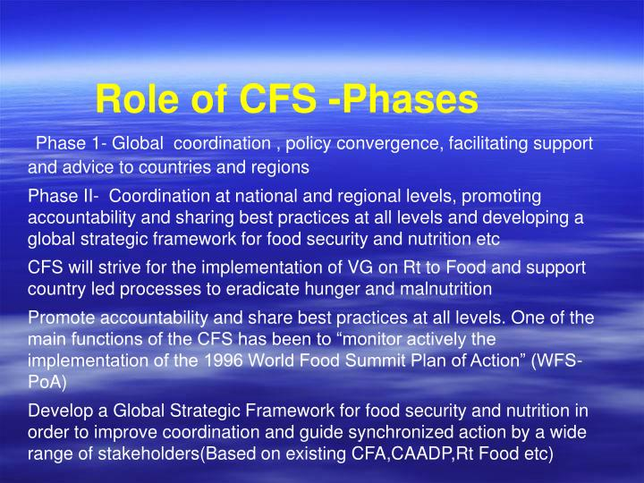 Role of CFS -Phases
