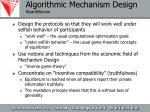algorithmic mechanism design nisan ronen
