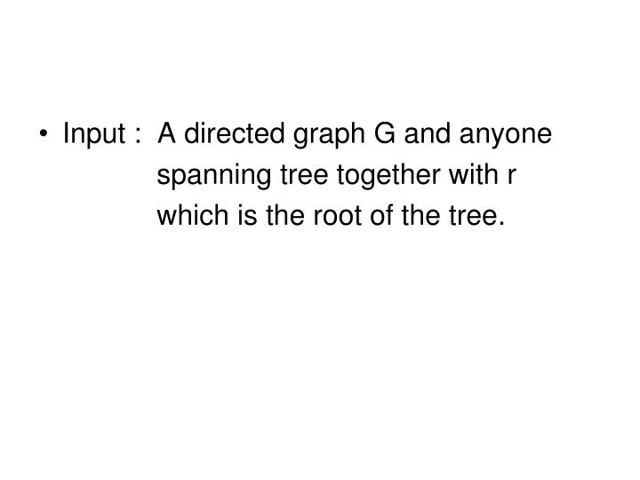 Input :  A directed graph G and anyone