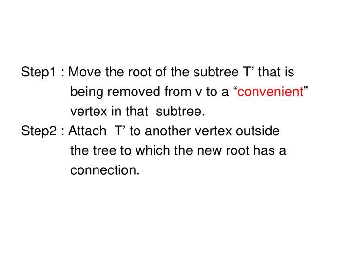 Step1 : Move the root of the subtree T' that is