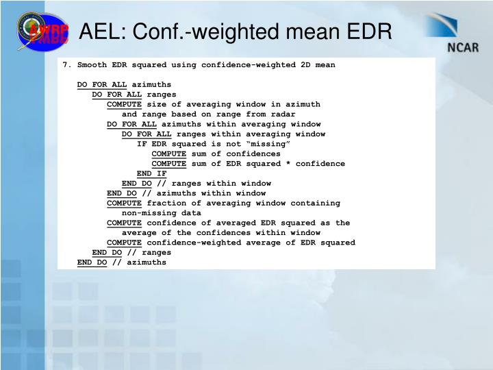 AEL: Conf.-weighted mean EDR