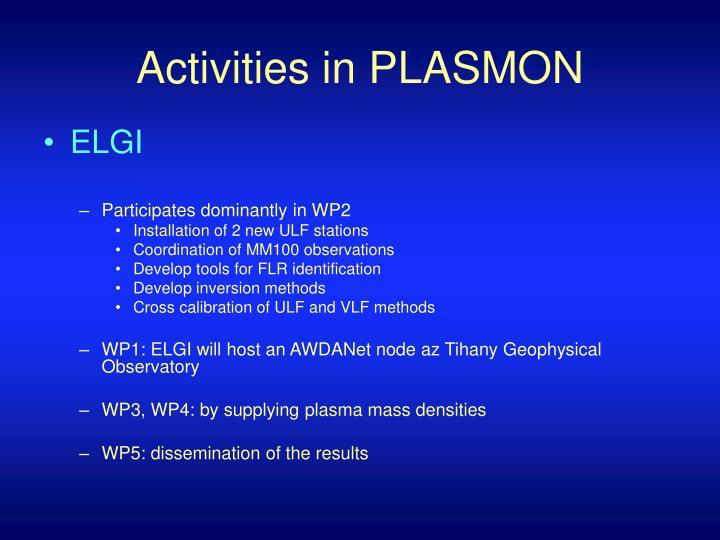Activities in PLASMON