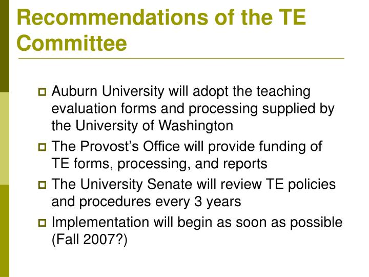 Recommendations of the TE Committee