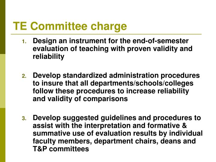Te committee charge