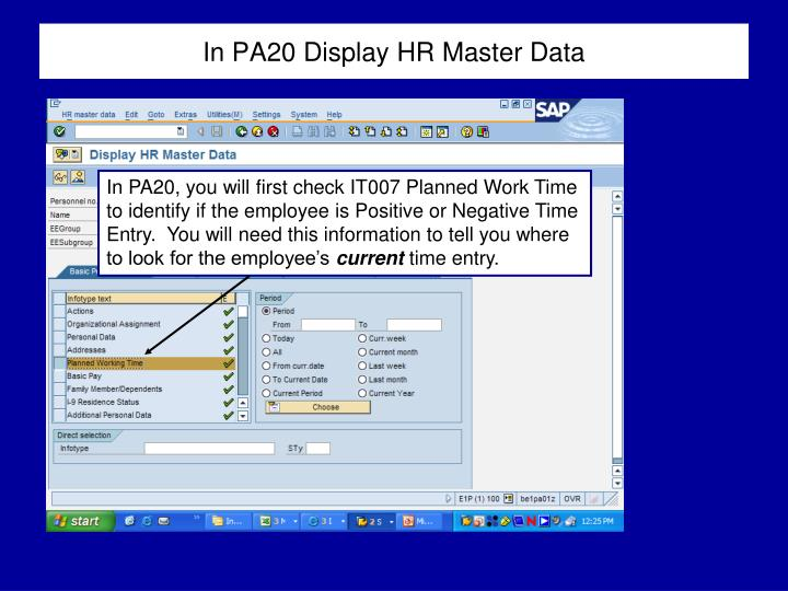 In PA20 Display HR Master Data