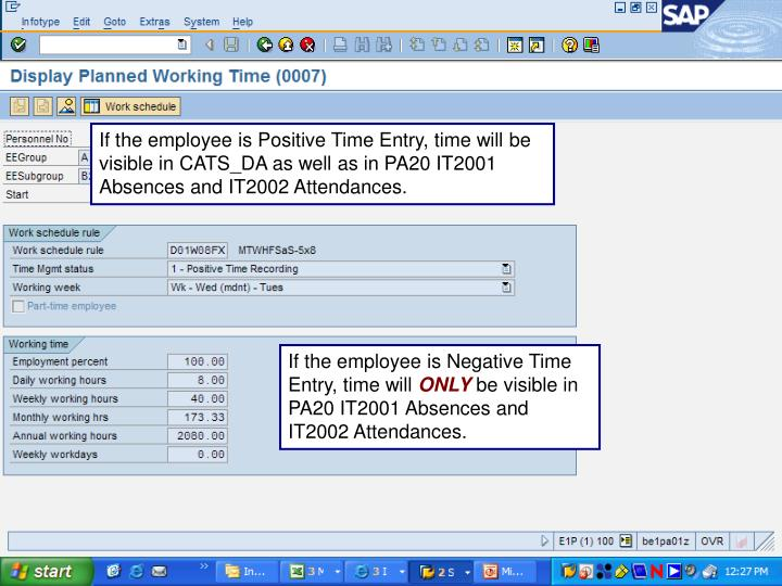 If the employee is Positive Time Entry, time will be visible in CATS_DA as well as in PA20 IT2001 Absences and IT2002 Attendances.