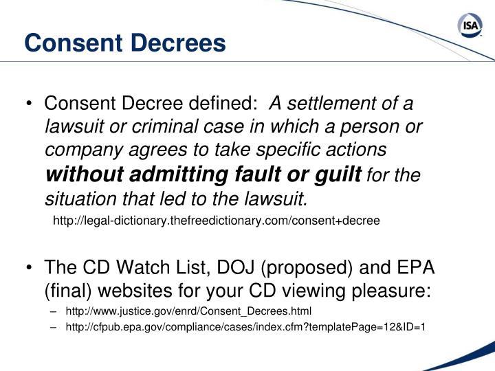Consent Decrees