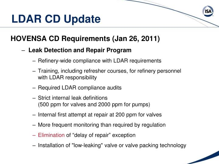 LDAR CD Update