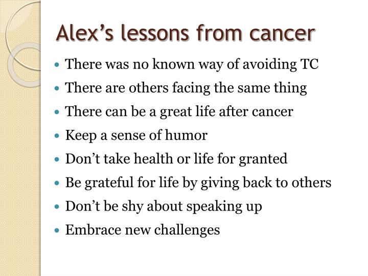 Alex's lessons from cancer