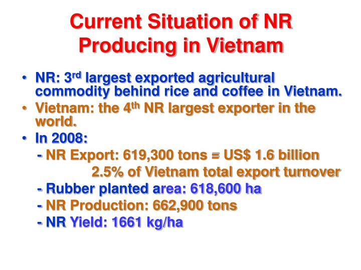 Current situation of nr producing in vietnam