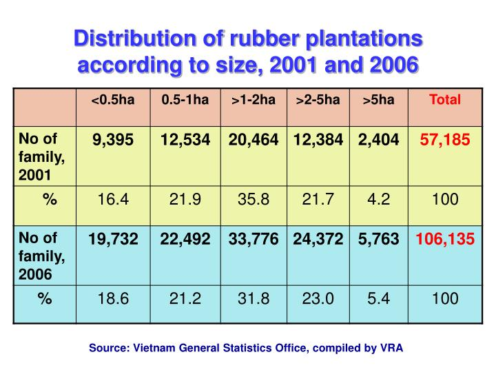 Distribution of rubber plantations according to size, 2001 and 2006