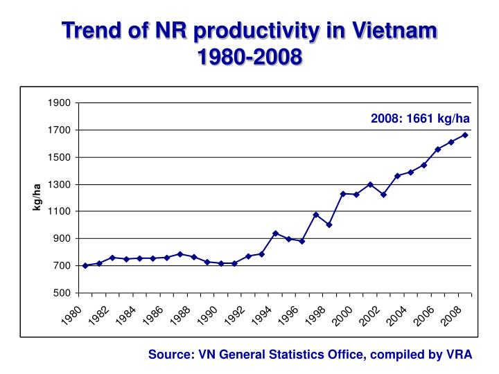 Trend of NR productivity in Vietnam