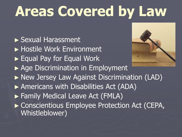 Areas Covered by Law