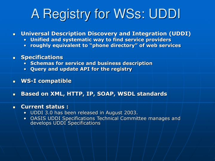 A Registry for WSs: UDDI