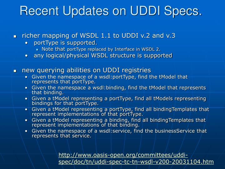 Recent Updates on UDDI Specs.
