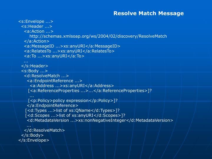 Resolve Match Message