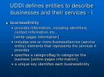 uddi defines entities to describe businesses and their services i