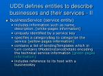 uddi defines entities to describe businesses and their services ii