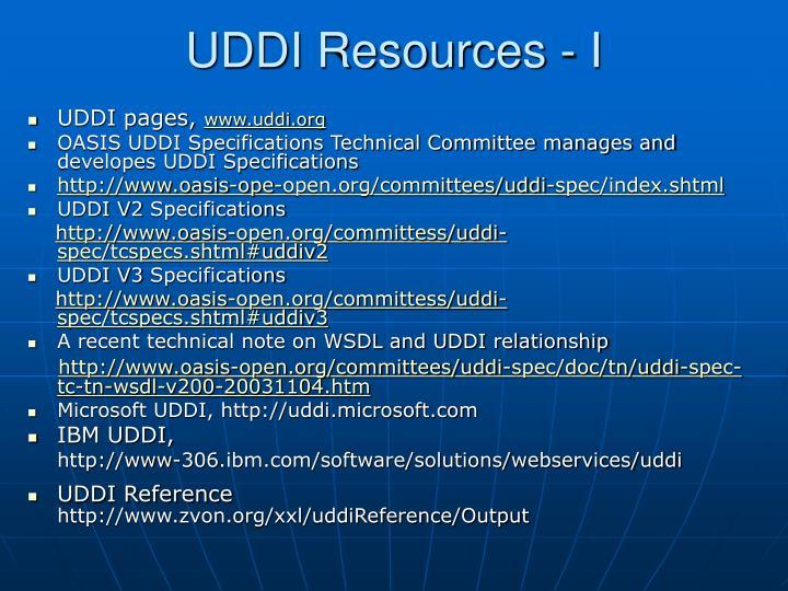 UDDI Resources - I