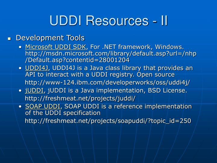 UDDI Resources - II
