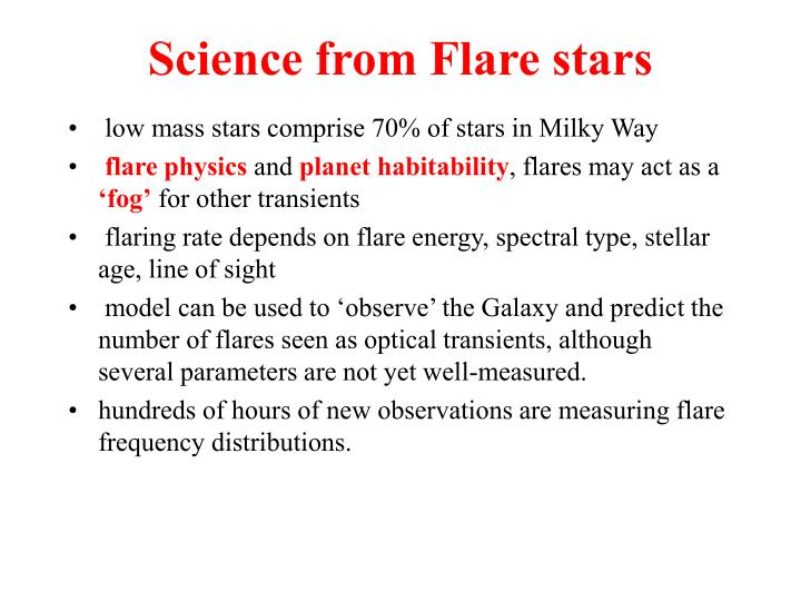 Science from Flare stars
