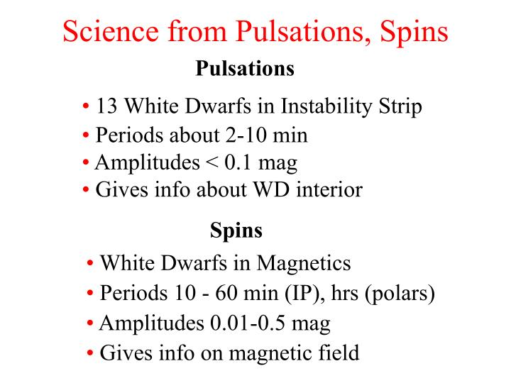 Science from Pulsations, Spins
