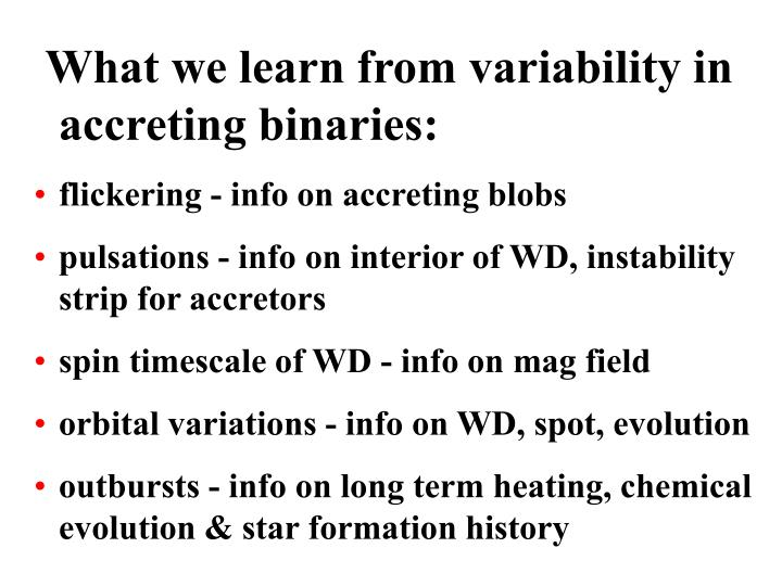 What we learn from variability in accreting binaries: