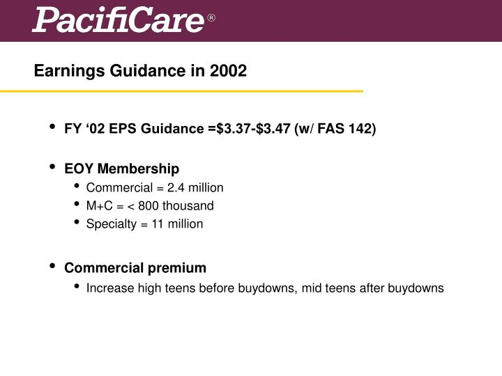 Earnings Guidance in 2002