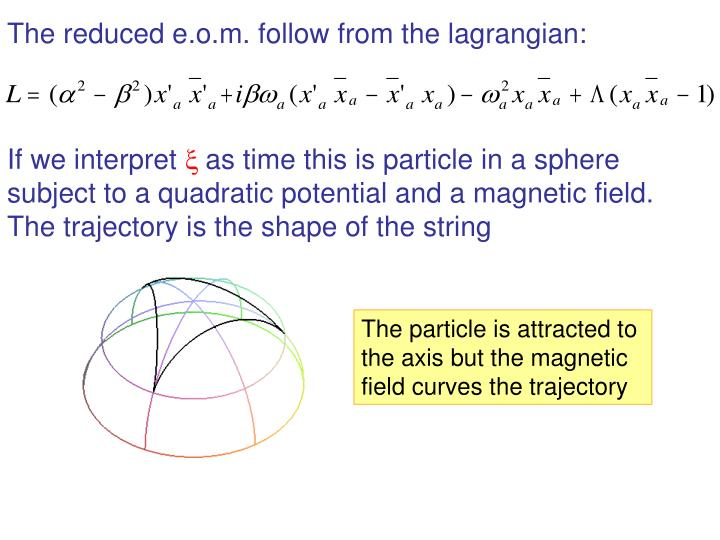 The reduced e.o.m. follow from the lagrangian: