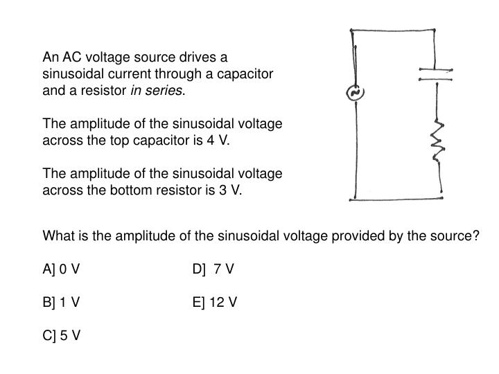 An AC voltage source drives a sinusoidal current through a capacitor and a resistor