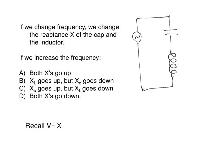 If we change frequency, we change the reactance X of the cap and the inductor.