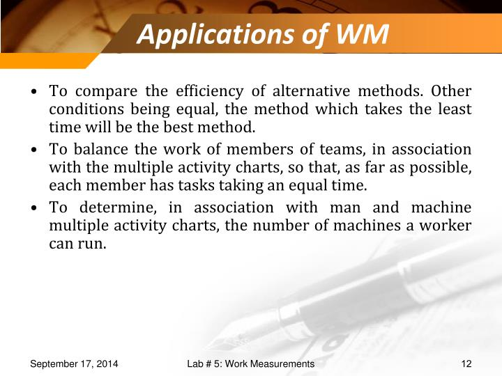 Applications of WM