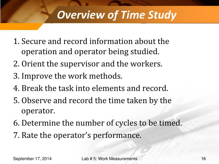 Overview of Time Study