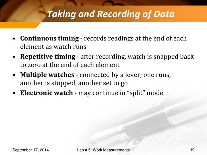 Taking and Recording of Data